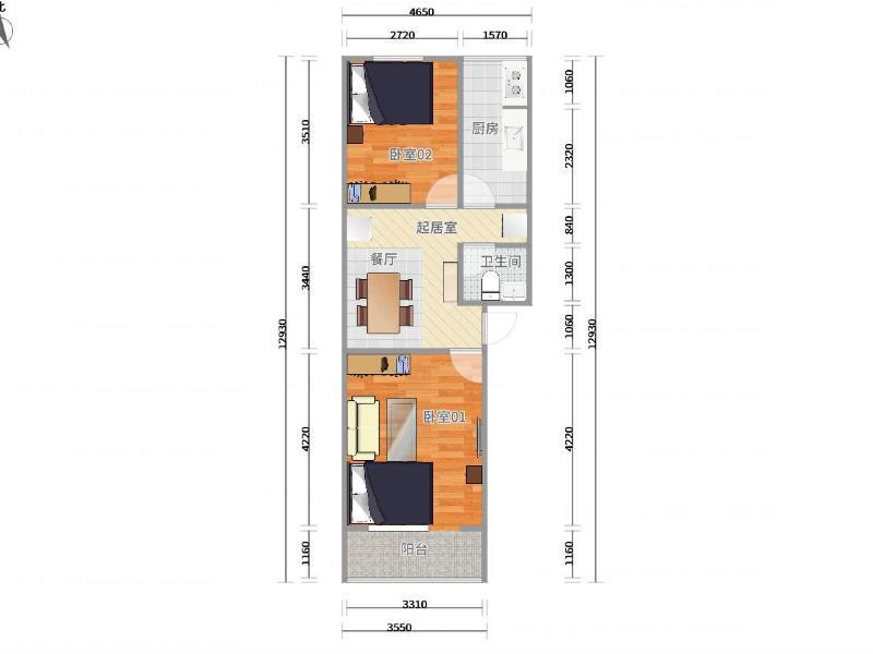 亚运村科学园南里三区整租房源户型图