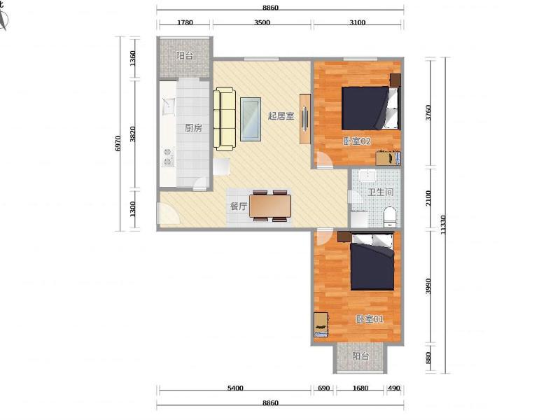 黃村康莊路52號院整租房源戶型圖