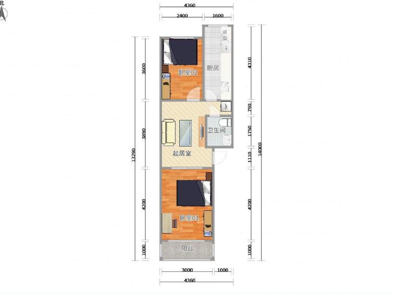 看丹橋新華街六里整租房源戶型圖