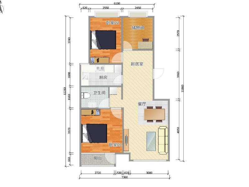 长阳长阳半岛4号院整租房源户型图