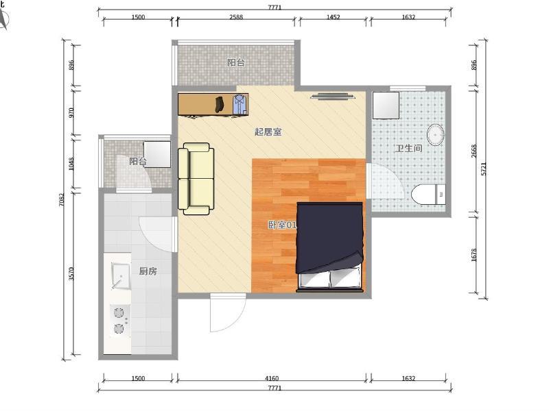 六里橋橙色年代整租房源戶型圖
