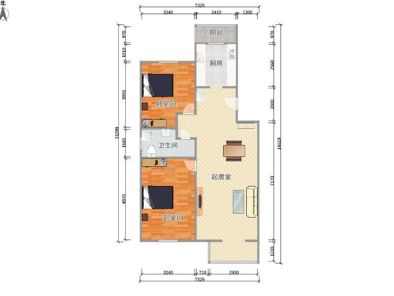 上地和韻佳園整租房源戶型圖