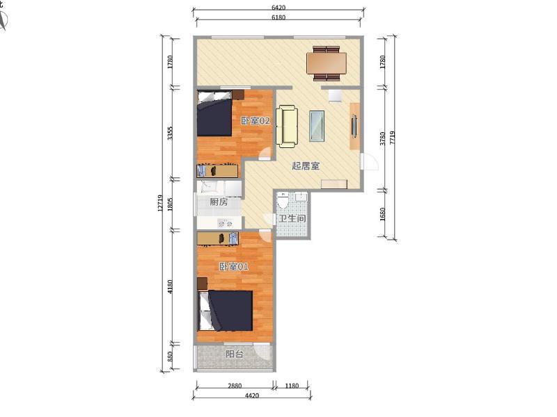 五棵松金溝河5號院整租房源戶型圖