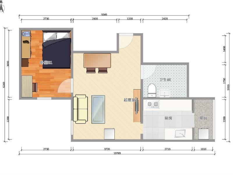 六鋪炕教場口6號院整租房源戶型圖