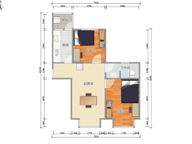 回龙观回龙观新村东区整租房源户型图