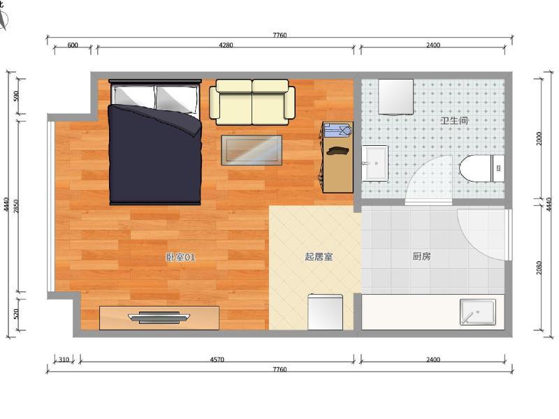 西关环岛琥珀郡整租房源户型图