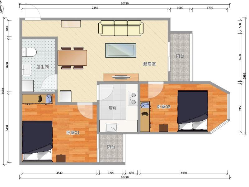 望京世安家园整租房源户型图