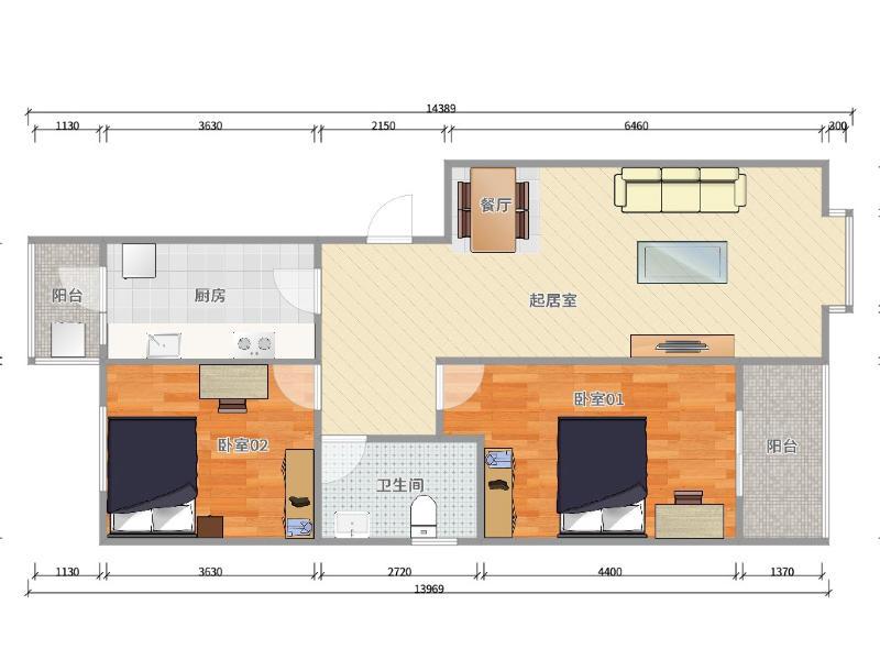 西紅門瑞海家園三區整租房源戶型圖