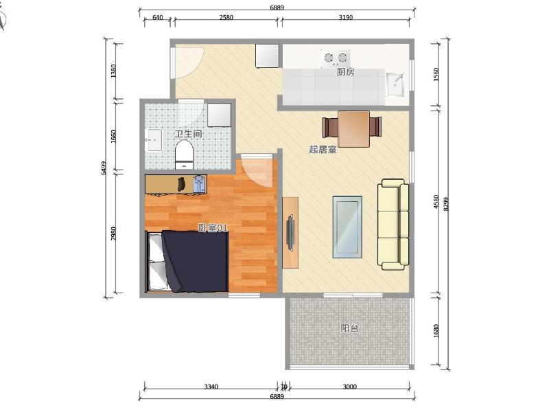 安定門安外西河沿路1號院整租房源戶型圖